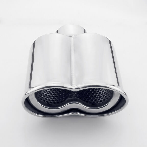 2 inch INLET Dual Oval Resonated Rolled Twin Outlet Stainless Steel Exhaust Tip