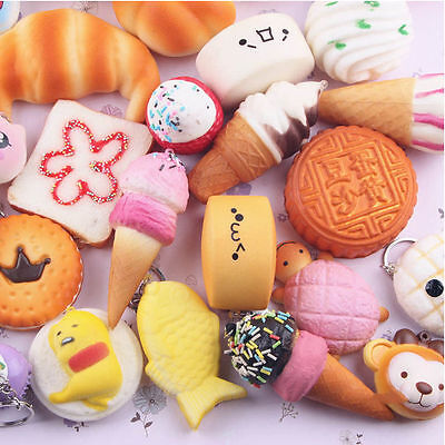 20Pcs Random Cute Squishy Soft Medium Mini Panda/Bread/Cake/ Buns Phone Straps