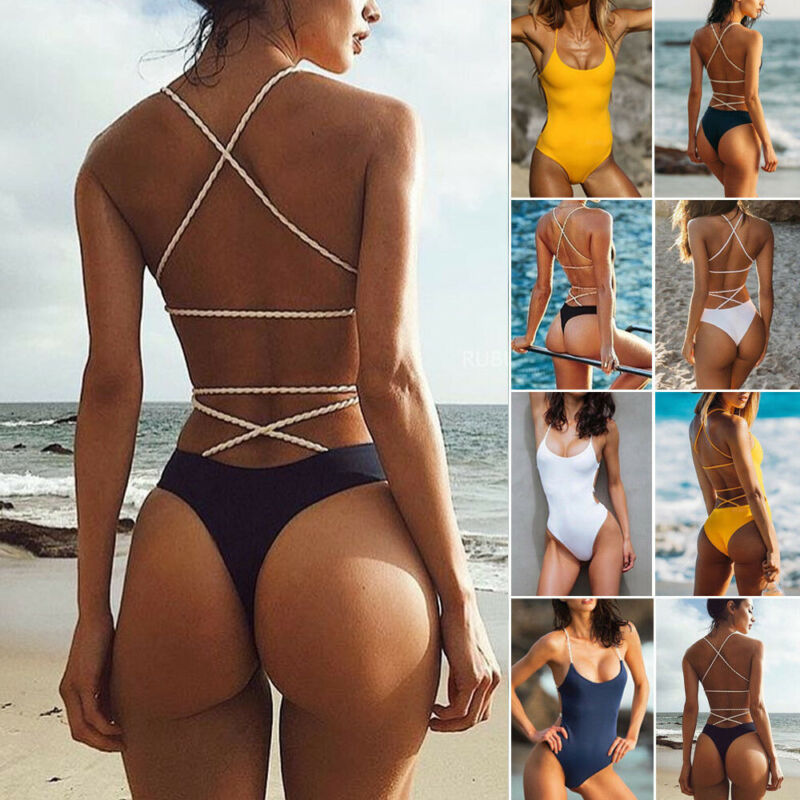 Women Bandage One Piece Bikini Monokini Padded Bra Swimwear