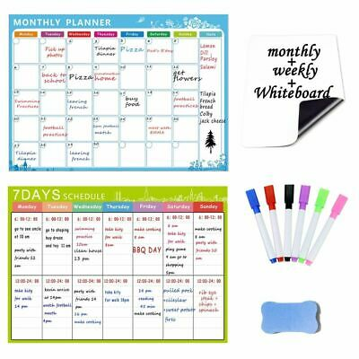 10 In 1 Magnetic Dry Erase Whiteboard. Set Of 3 Refrigerator Magnet Calendars M