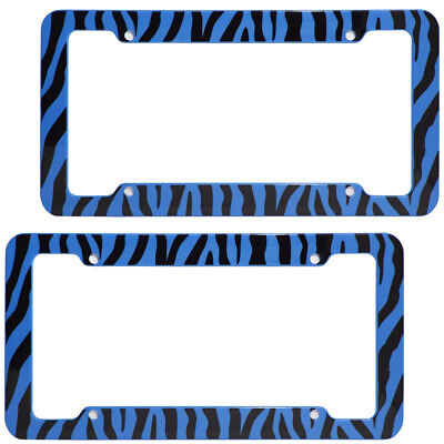 2 PC Set Safari Blue Zebra Tiger Print Plastic License Plate Frames Car Truck