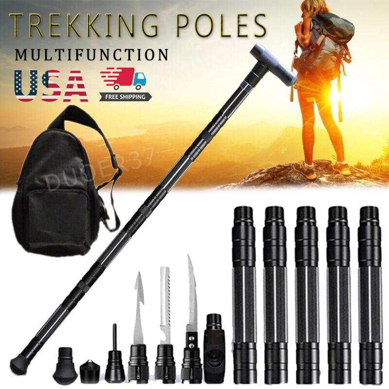 Tactical Survival Trekking Pole Walking Stick Outdoor Camping Hiking Defense US