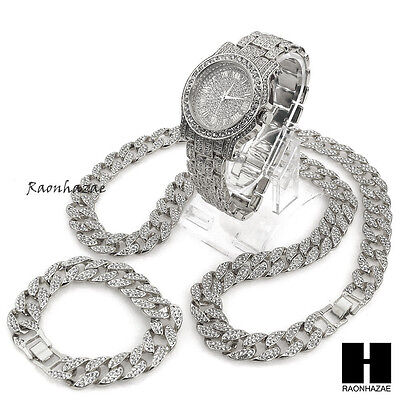 "Hip Hop diamond Techno Pave Watch 30"" Iced Out Cuban Stone Chain Bracelet Set S"