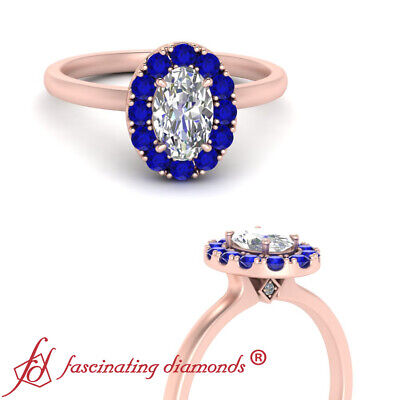 Oval Shaped Diamond And Sapphire Gemstone Rose Gold Halo Engagement Ring 0.90 Ct