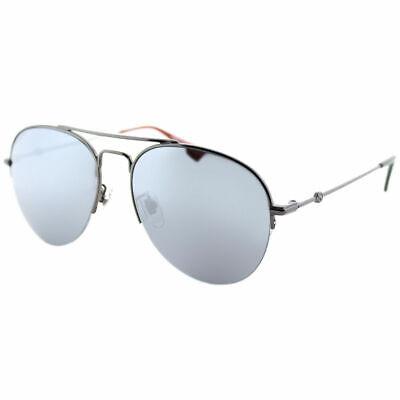 Gucci GG0107S 003 Silber Metal Aviator Sonnenbrille Silber Spiegel Linse