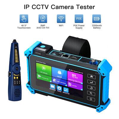 5 Inch 8MP IPC Camera Tester AHD CVI TVI CVBS ONVIF POE PTZ LCD 4K H.265 Video