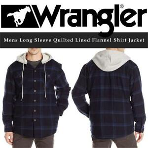 NEW Wrangler Mens Long Sleeve Quilted Lined Flannel Shirt Jacket W/Hood Condtion: New, Total Eclipse With Heather Gra...