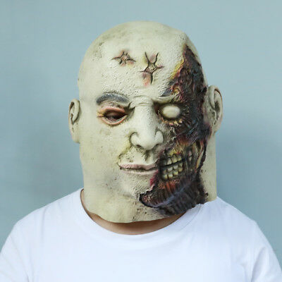 Crazy Zombie Scary Mens Halloween Latex Masks Costume Cosplay Party Adult Size