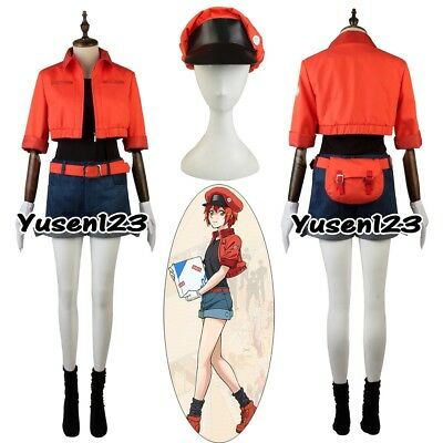 Cells at Work Red Blood Cell Cosplay Costume Halloween Uniform Daily Outfit
