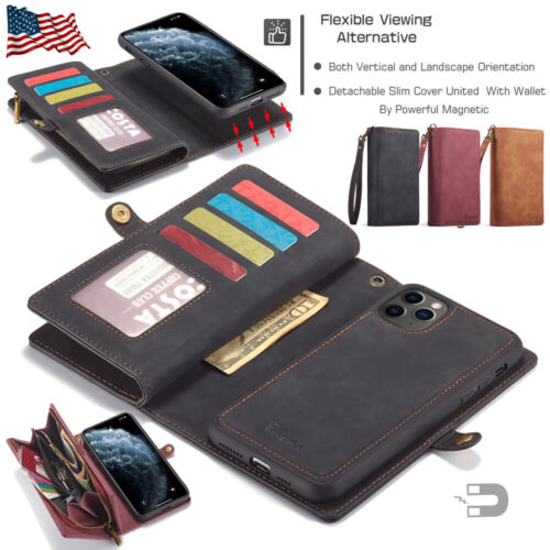 For Apple iPhone 11 Pro Max Detachable Magnetic Leather Zipper Wallet Case Cover