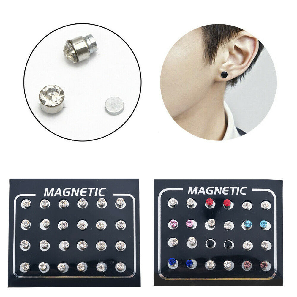 12Pair //Set Magnetic Crystal Ear Stud Earrings Clip On Non Piercing Jewelry Gift