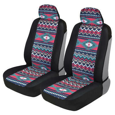 Inca Aztec Pattern Sideless Front Car Seat Covers - Access to Armrest & Controls ()