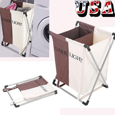 Folding Laundry Sorter Hamper 2 Section Washing Clothes Basket Storage (Sorter Folding)