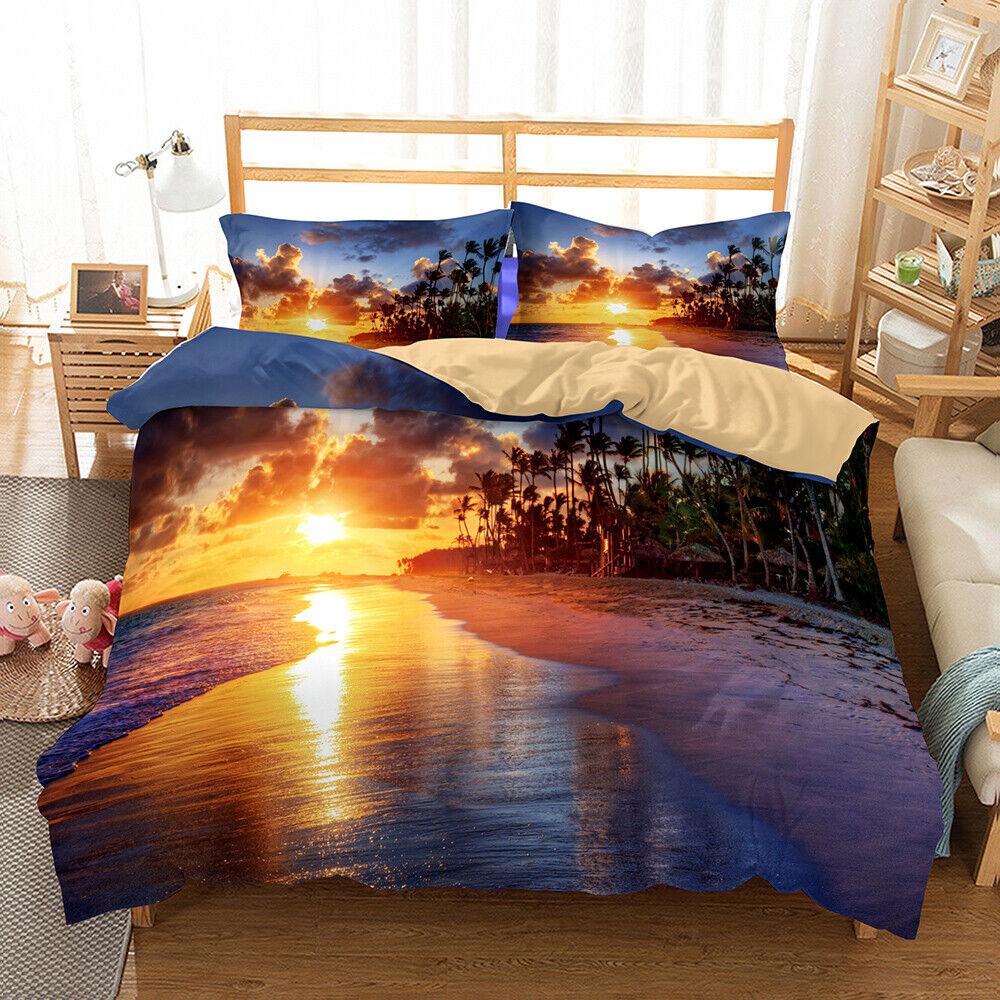 3D Sunset Beach Ocean Wave Duvet Cover Quilt Cover Bedding Set Pillowcase 3pcs