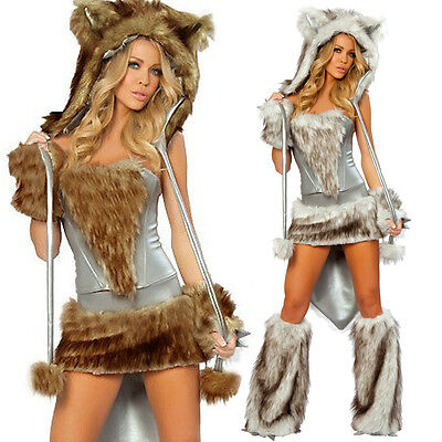 1Set Womens Halloween Costumes Sexy Bear Fox Wolf With Tail Animal Fancy Dress