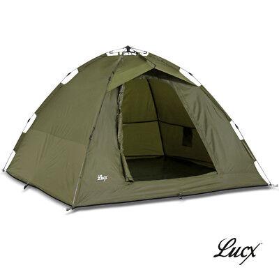 Ruck Zuck Zelt Lucx® Bivvy 2 Mann Karpfenzelt Angelzelt Camping Zelt Neu