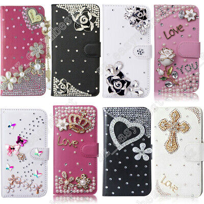 Bling Diamond Wallet Flip Phone Leather Case Cover for Galaxy J2 J3 J4 J7 2018 ()