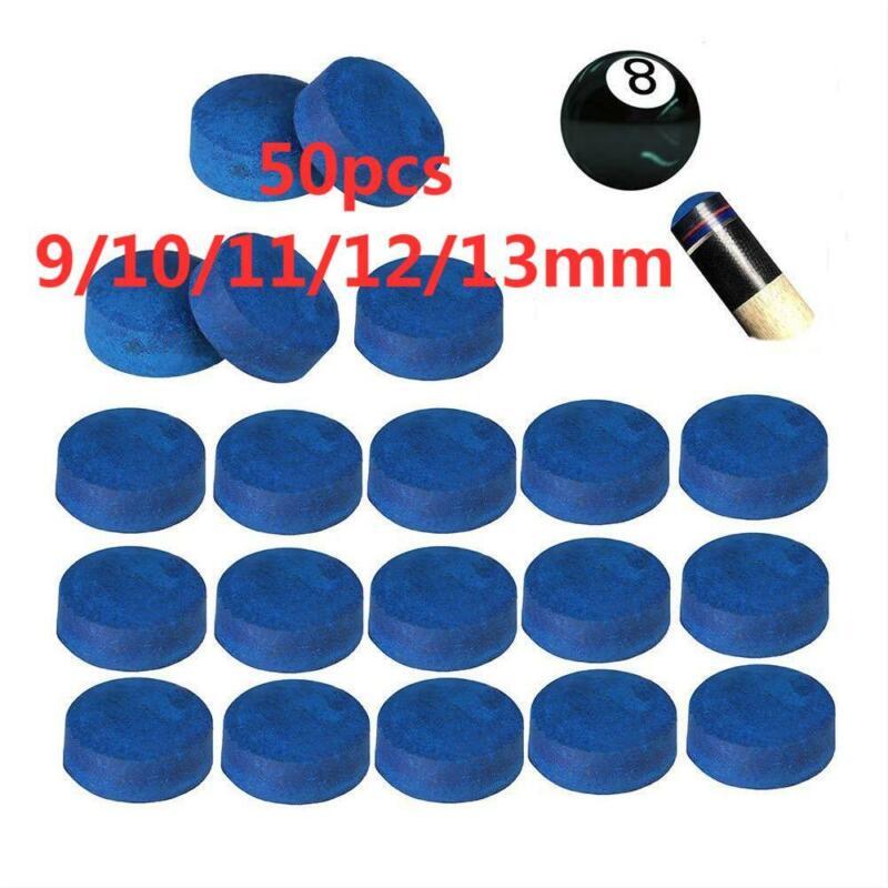 50pcs Glue-on Billiard Pool Cue Tips Hardness Snooker Cue Stick 9/10/11/12/13mm