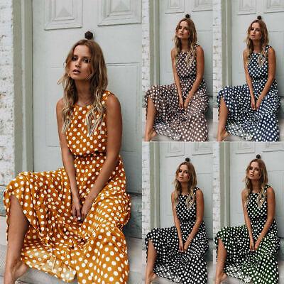 UK Women Vintage Polka Dot Sundress Dresses Dress Maxi Size 6-18 Boho Tank Cami