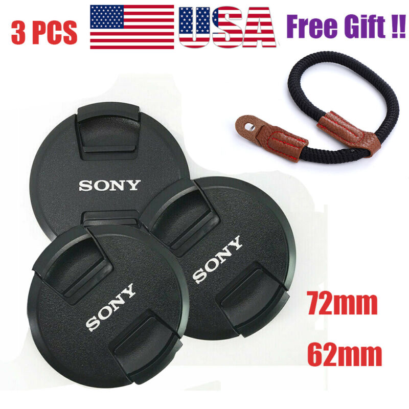 3PCS 62mm / 72mm Camera Lens Cap Cover for Sony + Hand Strap Grip