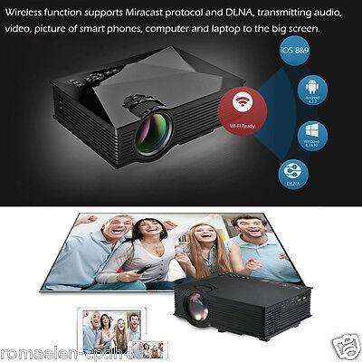 Projecteur LCD LED HD 1080P WiFi Sans Fil 3D Ready 1200 Lumens HDMI Phone DNLA