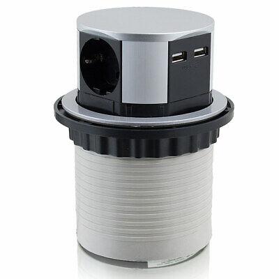 Steckdose Anschlüsse (Bituxx Steckdosenturm versenkbar Tischsteckdose 3-fach Stecker 2 USB Anschlüsse)