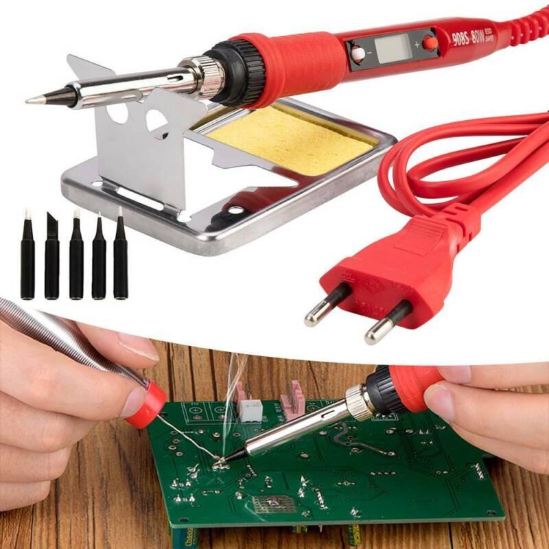 220-240V 80W LCD Lötkolben Elektrische Lötspitzen Lötset Regelbare Temperatur EU