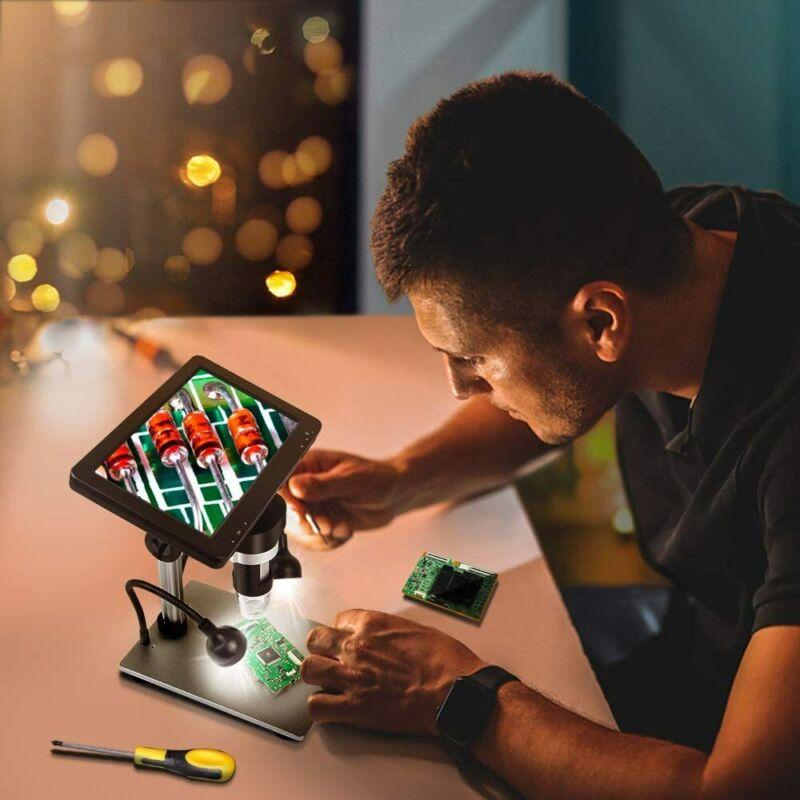 "7"" LCD 1080P Digital Microscope 1200X Zoom Magnifier +Video Recorder +Remote"