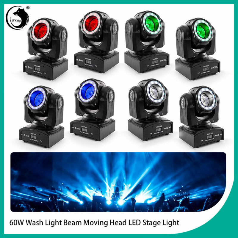 8PCS 60W Wash Light DMX512 DJ Disco Beam Moving Head LED Stage Lighting Party
