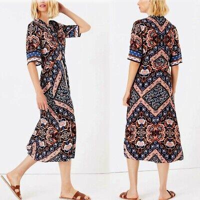 M&S Printed 1/2 Sleeve MIDI SHIRT DRESS ~ Size 10 ~ BLUE...