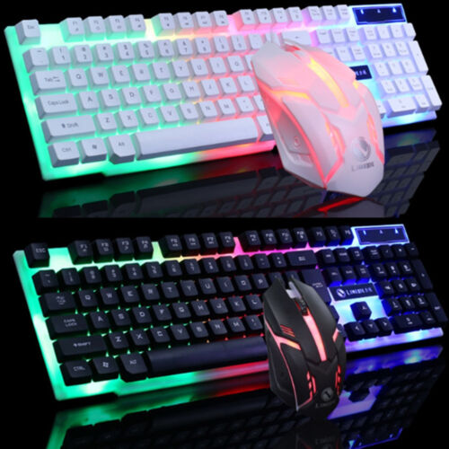 LED Glowing Computer Desktop Wired Mechanical Keyboard And M