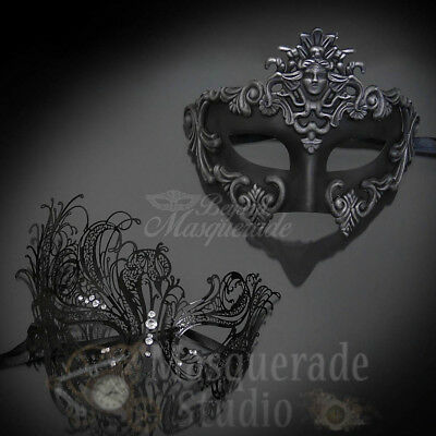 Couples Silver Medusa and Black Swan Costume Party Masquerade Masks Set - Medusa Couples Costume