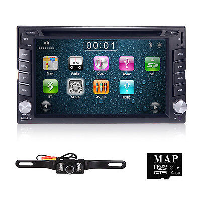 GPS Navigation HD Double 2DIN Car Stereo DVD Player Bluetooth iPod MP3 TV+Camera on Rummage