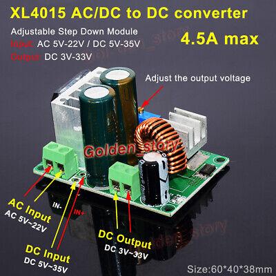 Xl4015 Acdc To Dc Buck Step Down Volt Converter 3.3v 5v 12v 24v 4.5a Regulator