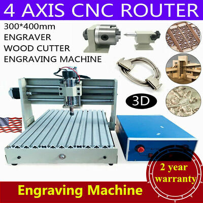 4 Axis 3040 Cnc Router Desktop 3d Engraver Pcb Engraving Milling Machine 400w Us