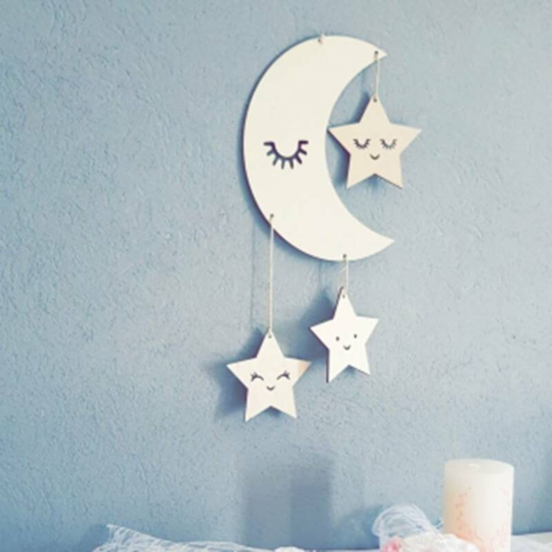 Details About Nursery Decor Children S Room Decor Baby Room Wooden Cloud Star For Boys Girls