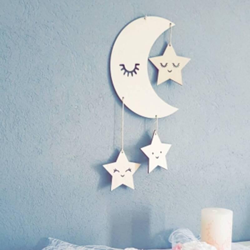 Room Decor Wooden Cloud Star Hanging