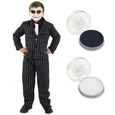 CHILDS PINSTRIPE SUIT SKELETON FACEPAINT HALLOWEEN FANCY DRESS CHARACTER COSTUME - Boys Halloween Skeleton Face Paint