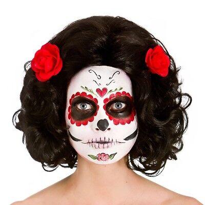 Schwarz Tag der Toten Perücke mit Blumen Mexikanisch Senorita Damen Kostüm ()
