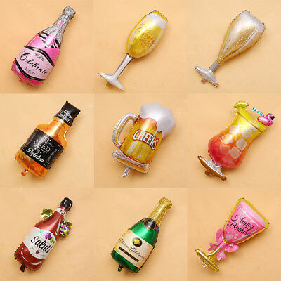 1Pc Champagne Glass Beer Bottle Foil Balloons Wedding Birthday Party Bar Supply (Champagne Balloons)