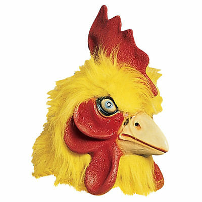 Chicken Mask Yellow Full Head Latex Farm Animal Mask With Faux Fur OS ()