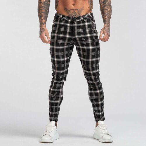Gingtto Men Chinos Trousers Skinny Stretch Slim Fit Plaid Pants Zipper Pocket