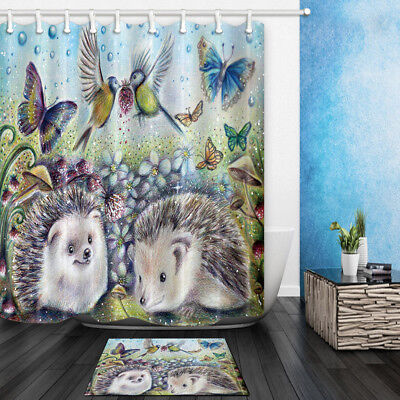 Hedgehog and butterfly Shower Curtain Bathroom Decor Polyester & 12hooks 71*71in](Butterfly Bathroom)