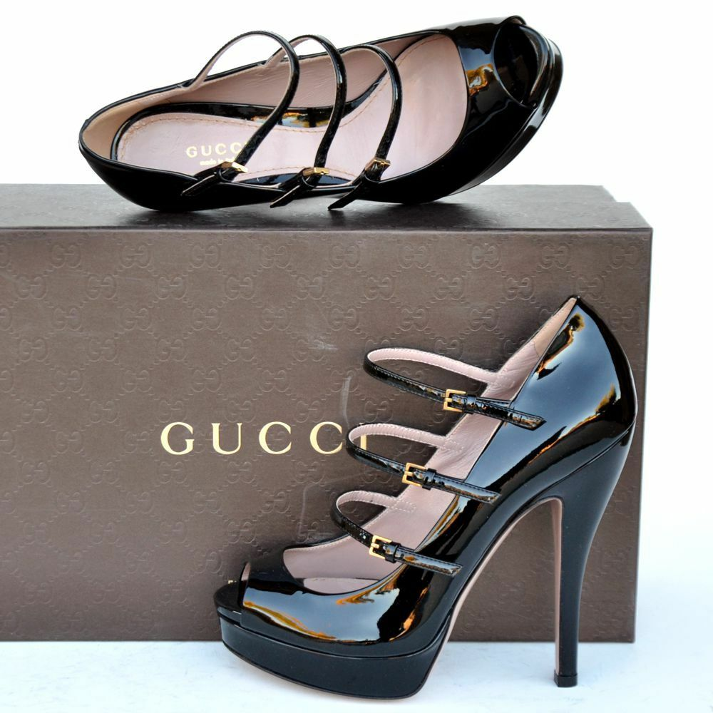 GUCCI New sz 40.5 - 10.5 Authentic Designer Womens Platform Heels Shoes Black