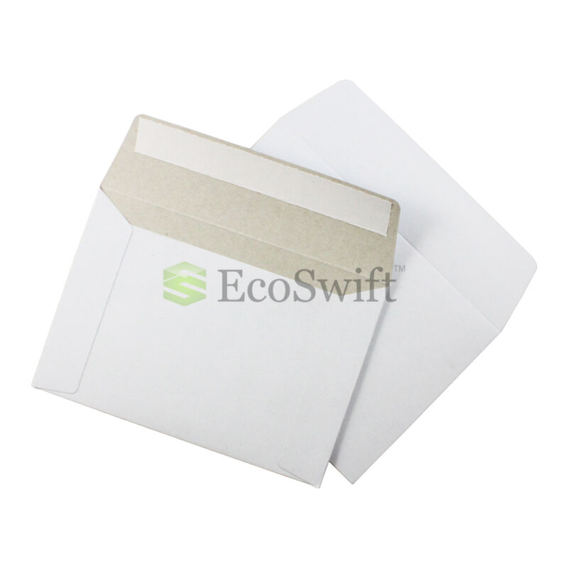 100 - 6.5 x 4.5 SELF SEAL RIGID PHOTO SHIPPING FLATS CARDBOARD ENVELOPE MAILERS