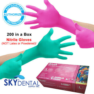 200box Topquality Nitrile Latex Free Hypoallergenic Medical Gloves Pink Green