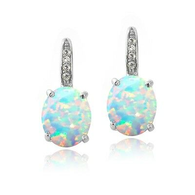 925 Silver Created Opal & Diamond Accent Oval Leverback (Diamond Accent Leverback Earrings)