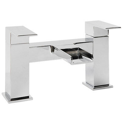 Modern Bathroom Square WATERFALL Bath Filler Mixer Tap in Chrome