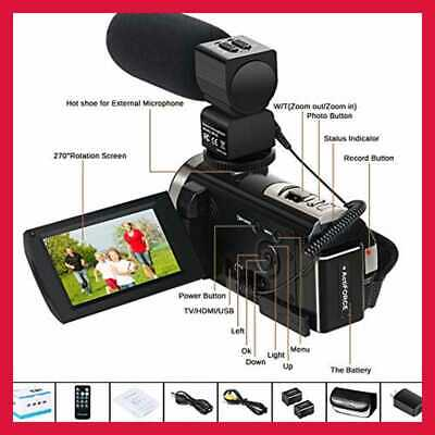 "Video Camera Camcorder Digital Youtube Vlogging Recorder FHD 1080P 24.0MP 3.0"" 2"