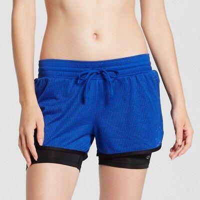 1 Champion Womens Mesh Shorts - Champion C9 99098 Women's 2-in-1 Mesh Layered Run Shorts SMALL Blue Allure NWT